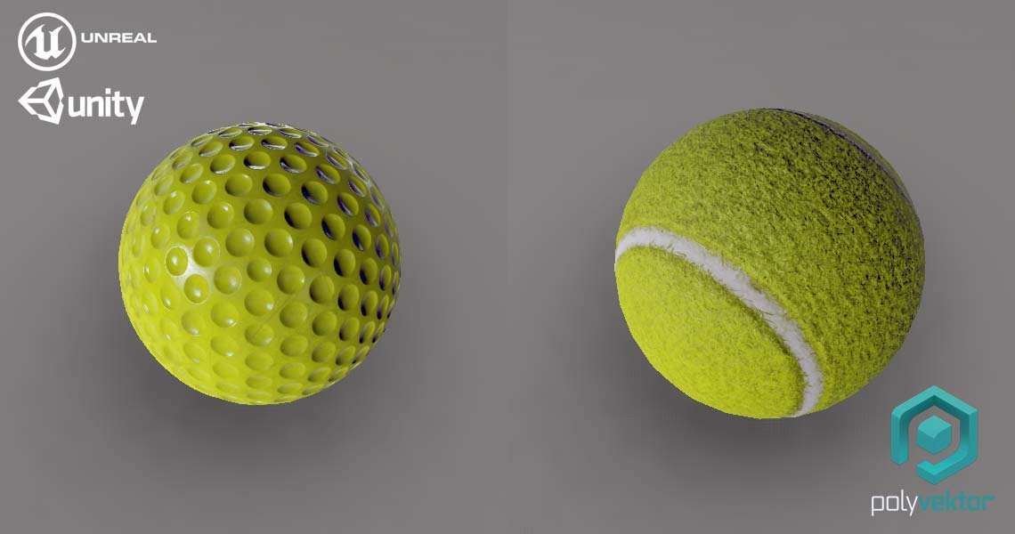 Golf Tennis ball low poly Unreal Unity