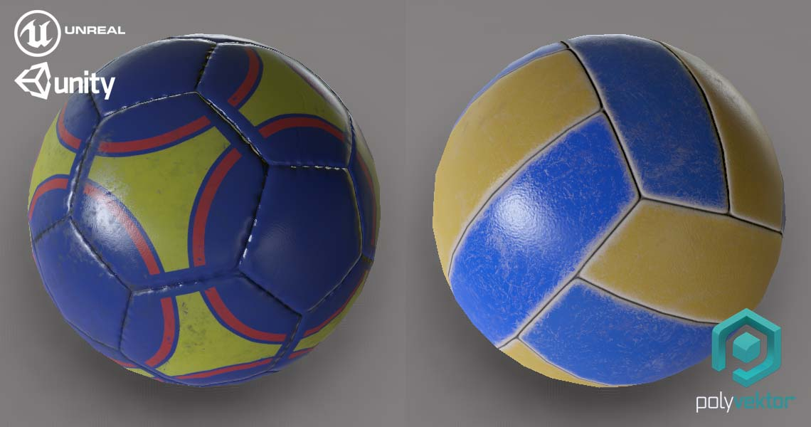 Football Volleyball low poly Unreal Unity
